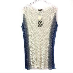 Tommy Bahama Linen Crochet Swim Coverup White Blue